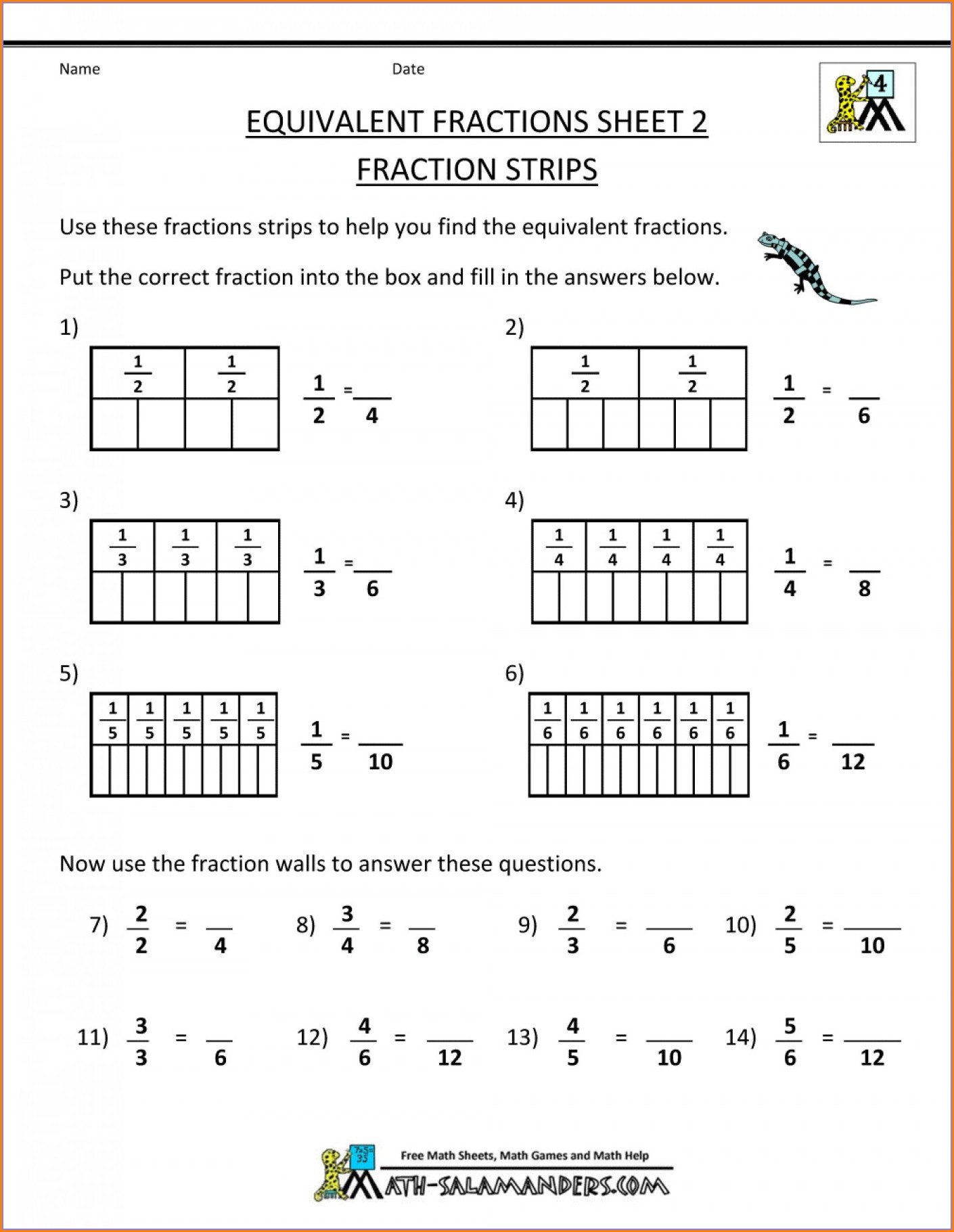 Grade 2 Math Worksheets Fractions