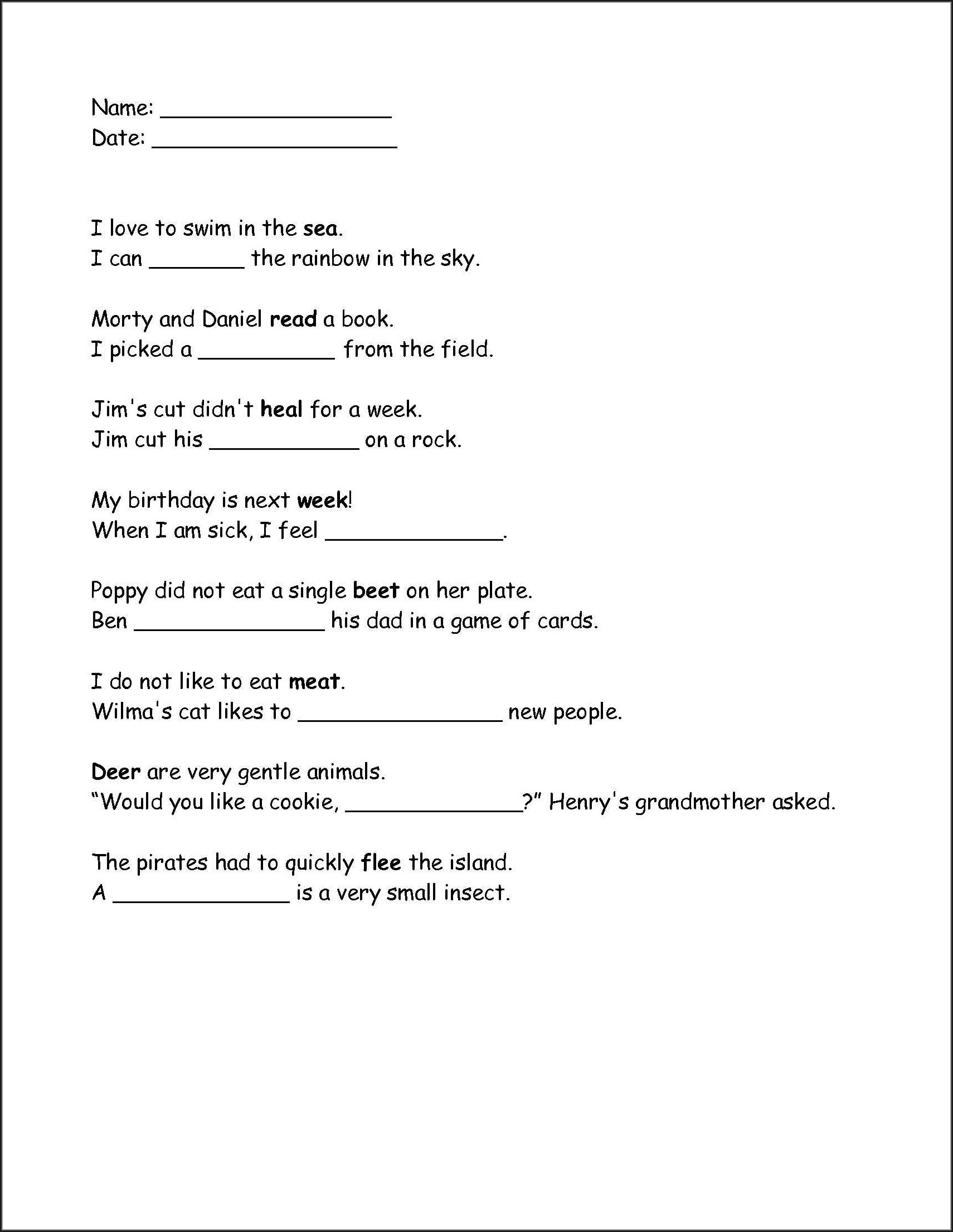 Grade 4 Homophones Worksheets