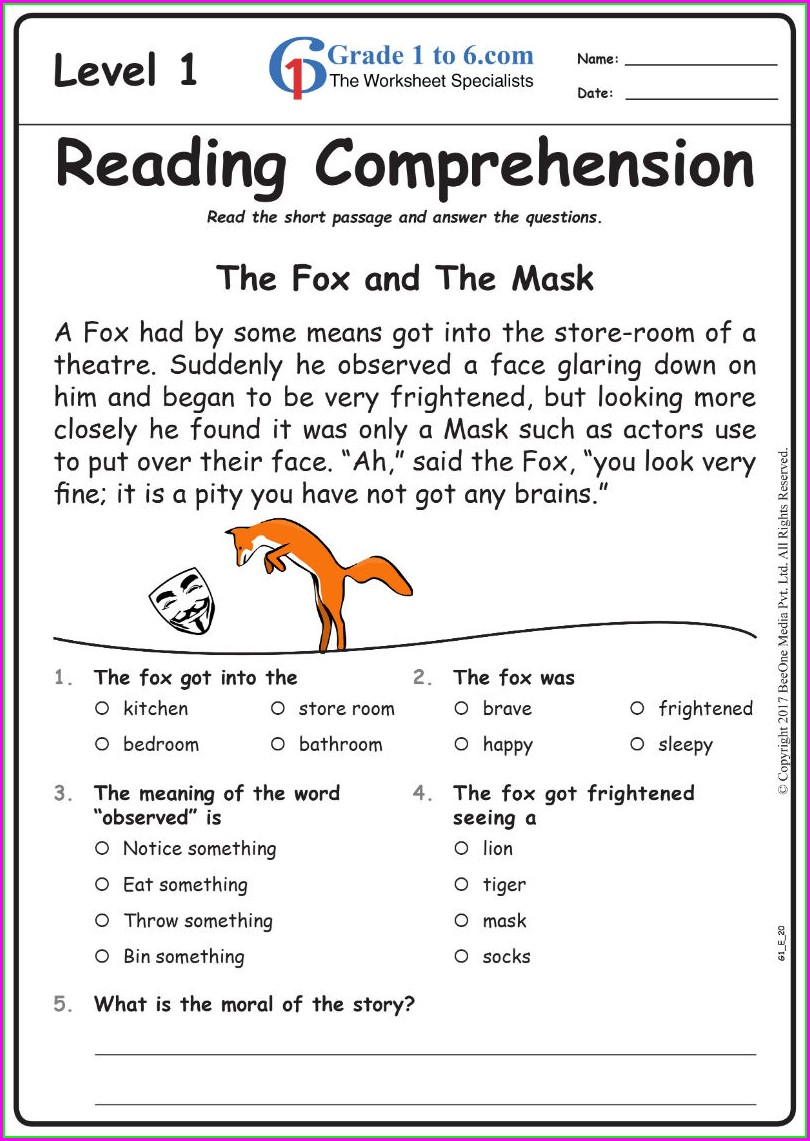 Grade 5 English Grammar Worksheet