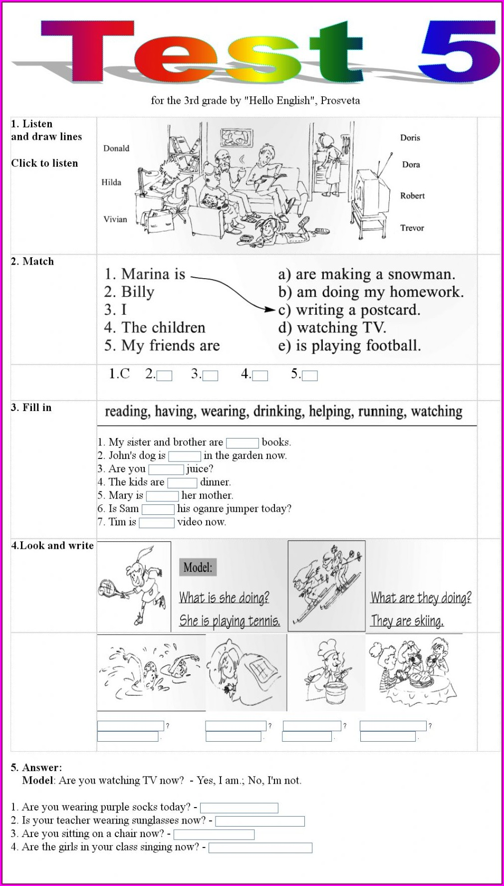 Grade 5 English Worksheets Online