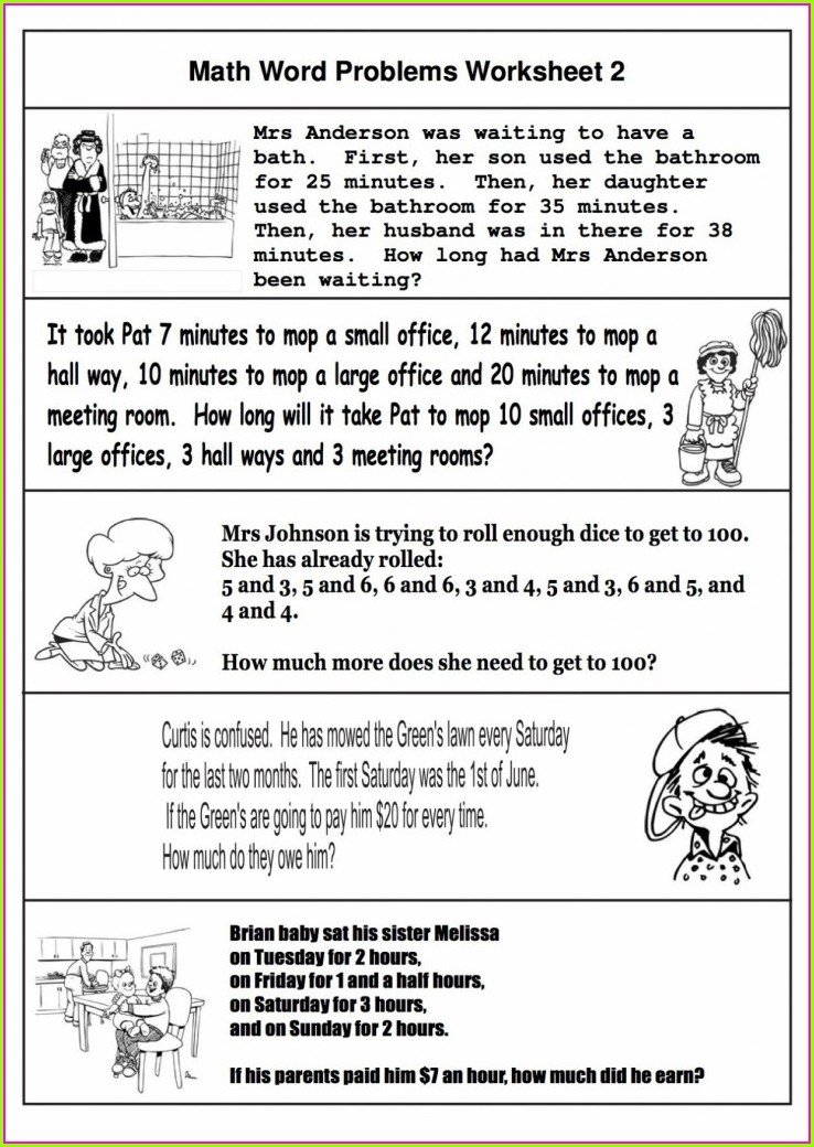 Grade 6 6th Grade Math Word Problems Worksheets With Answers