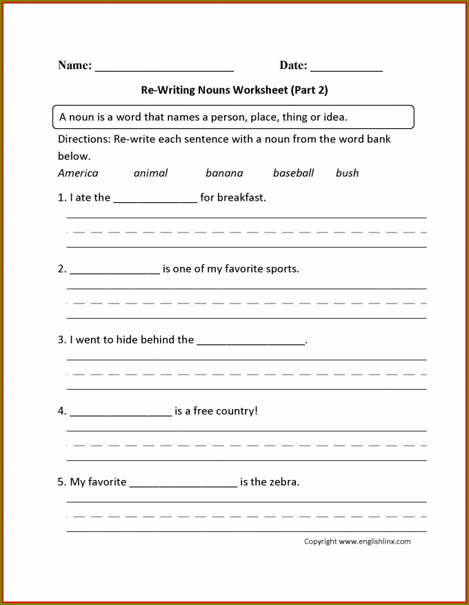 Grade One English Worksheets Pdf