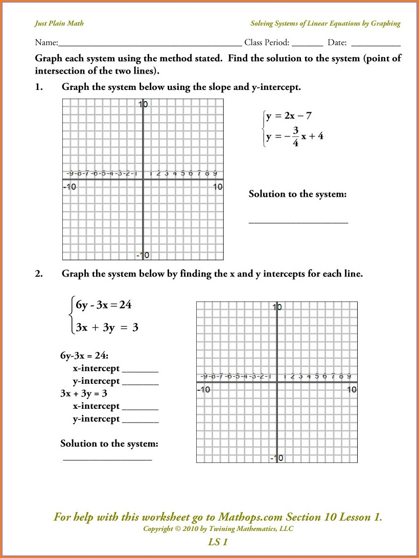 Graphing Linear Equations Word Problems Worksheet Answer Key