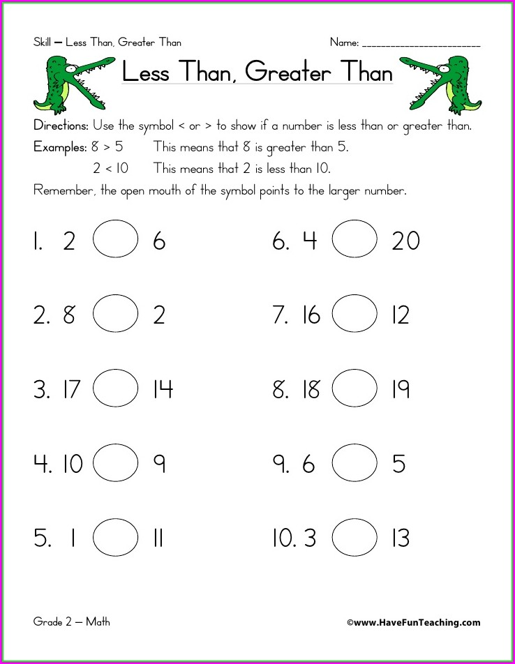 Greater Than Less Than Equal Worksheets Kindergarten