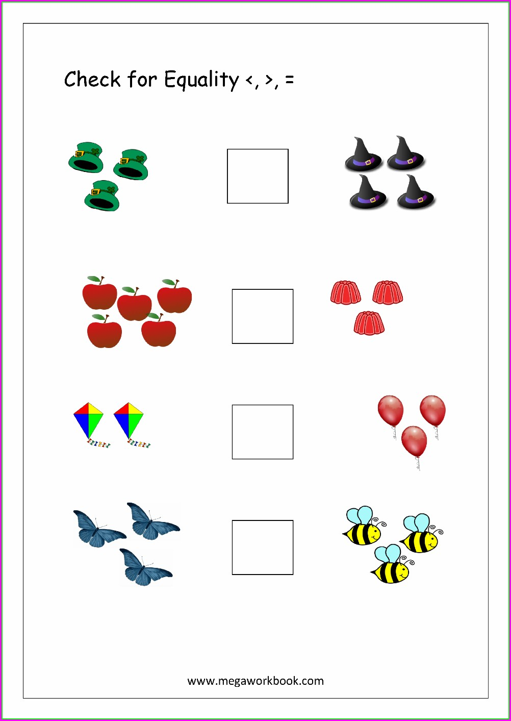 Greater Than Less Than Worksheets For Kindergarten Pdf