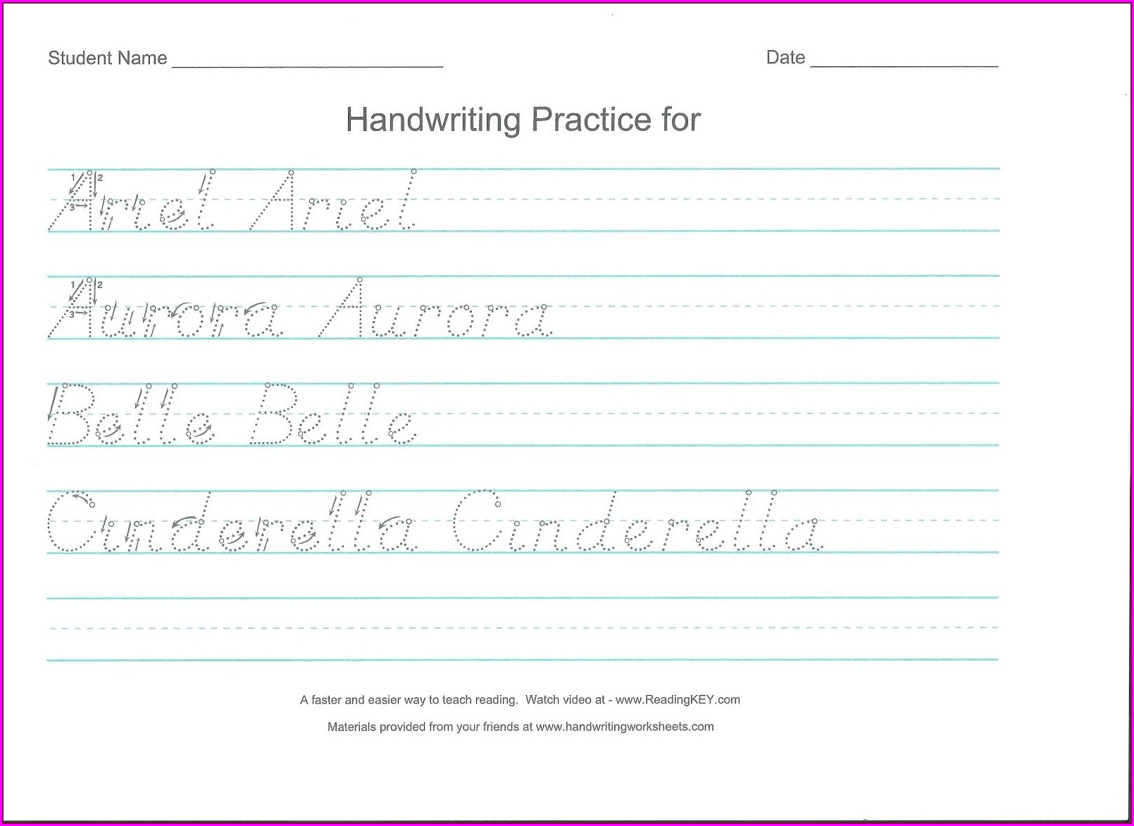 Handwriting Worksheet Generator Preschool