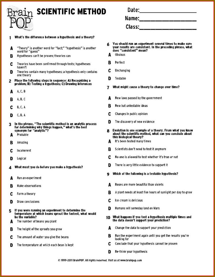 High School Scientific Method Worksheet Pdf