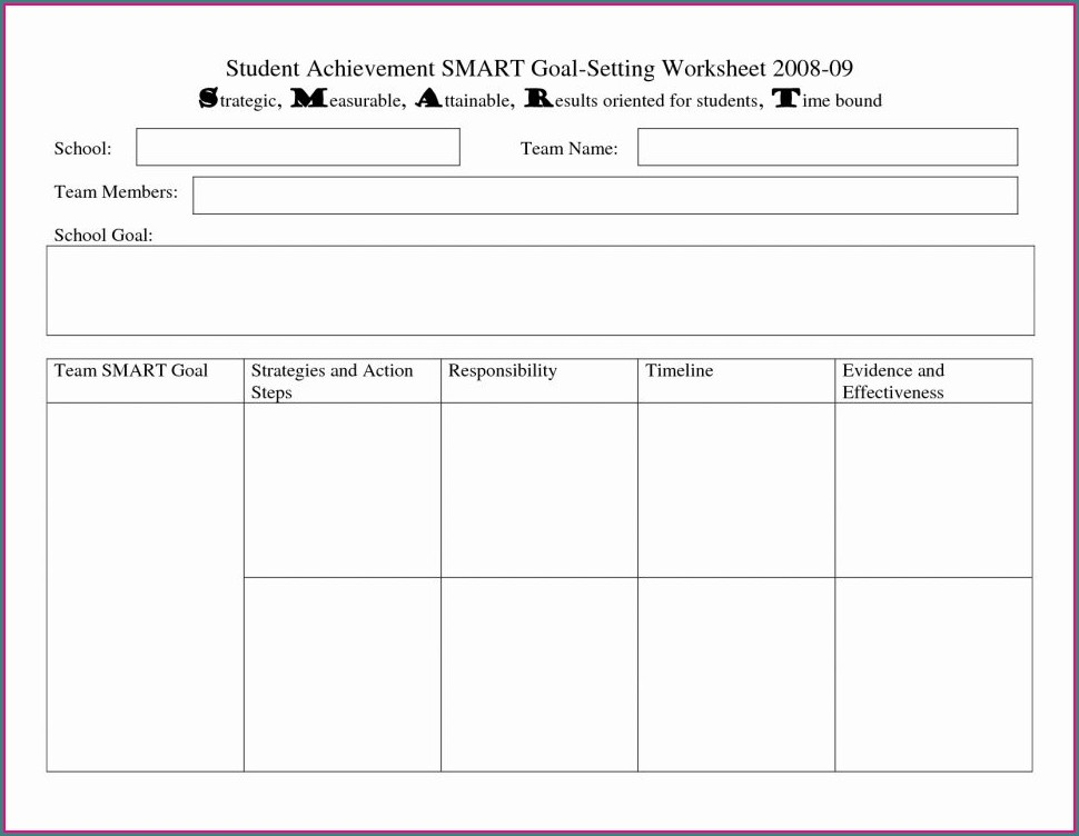 High School Setting Goals Worksheet