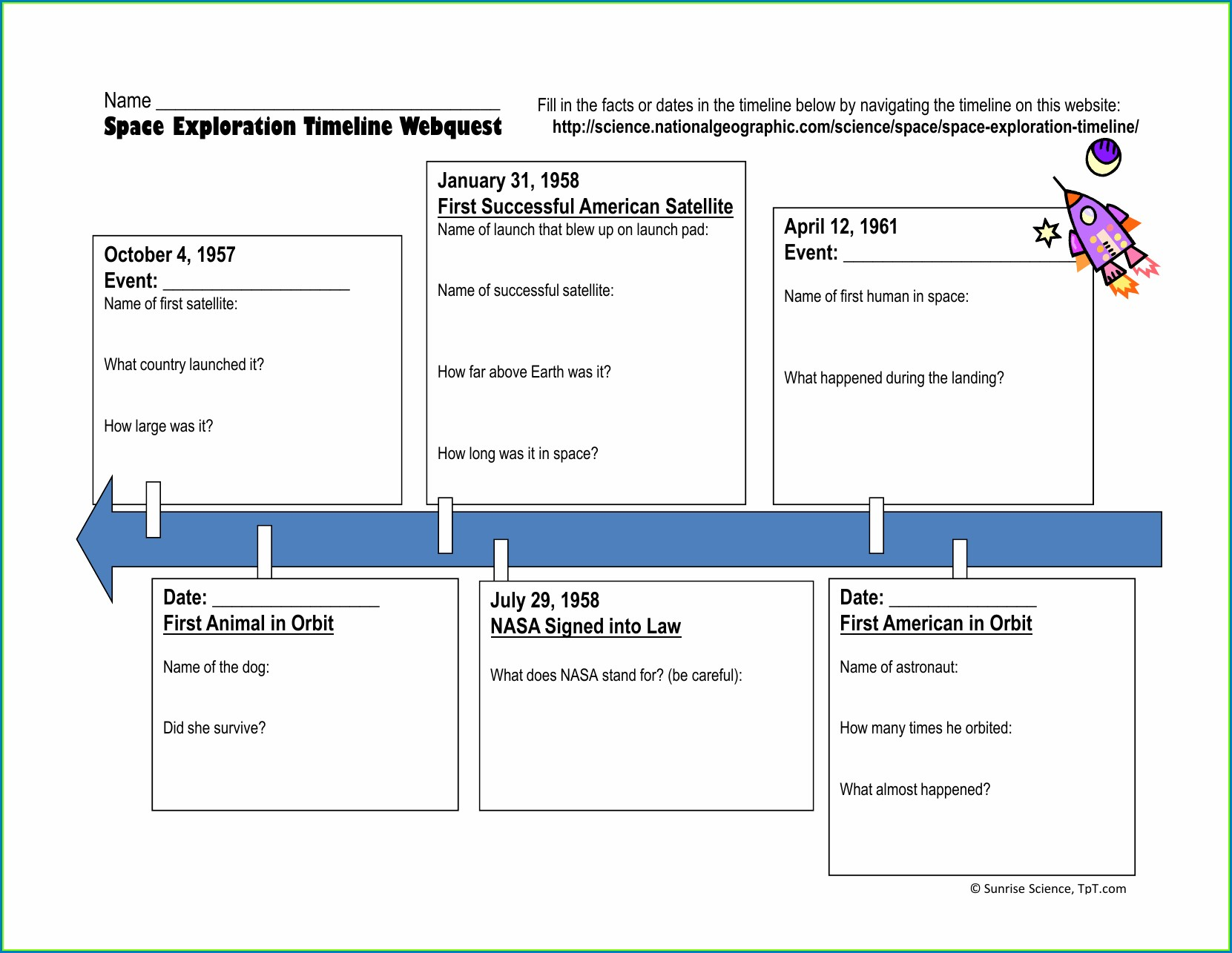 History Of Space Exploration Timeline Worksheet