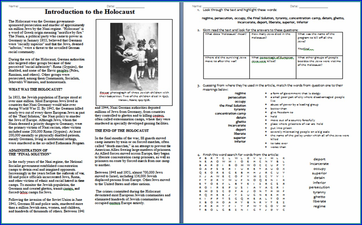 Holocaust Printable Worksheets For Middle School