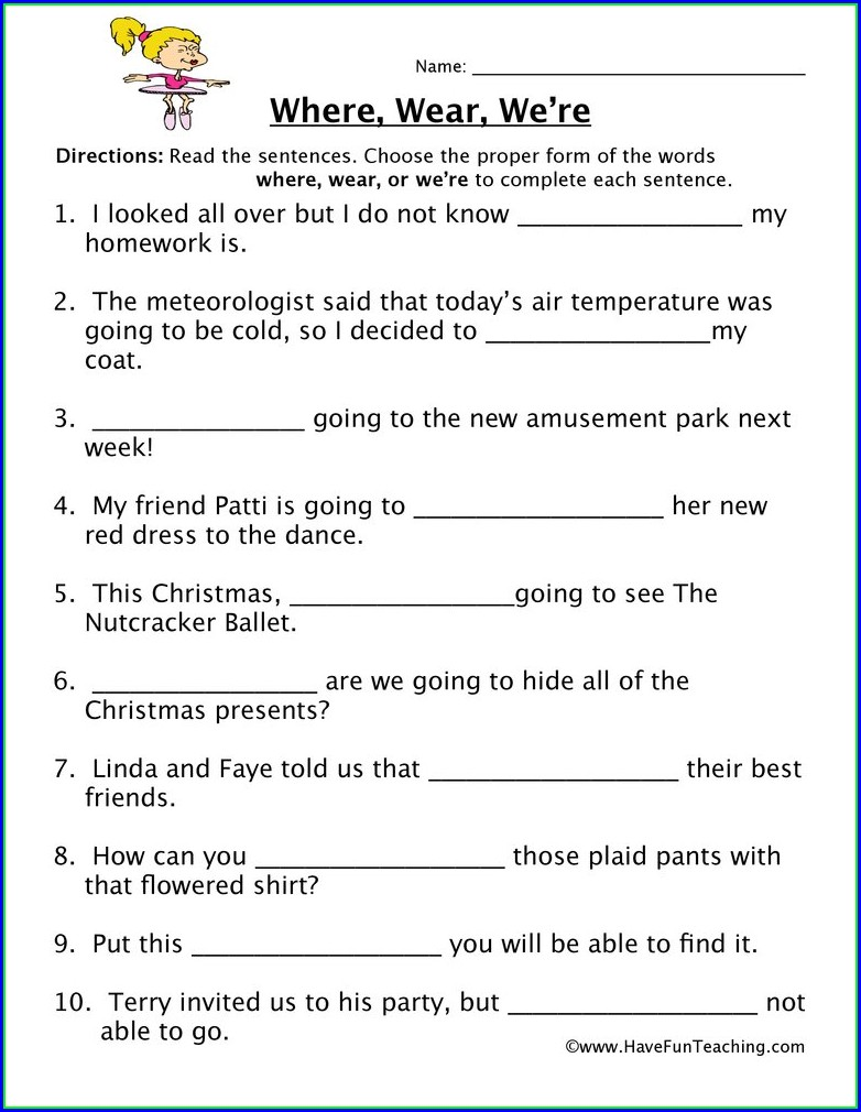 Homophones Worksheets For Grade 4 With Answers