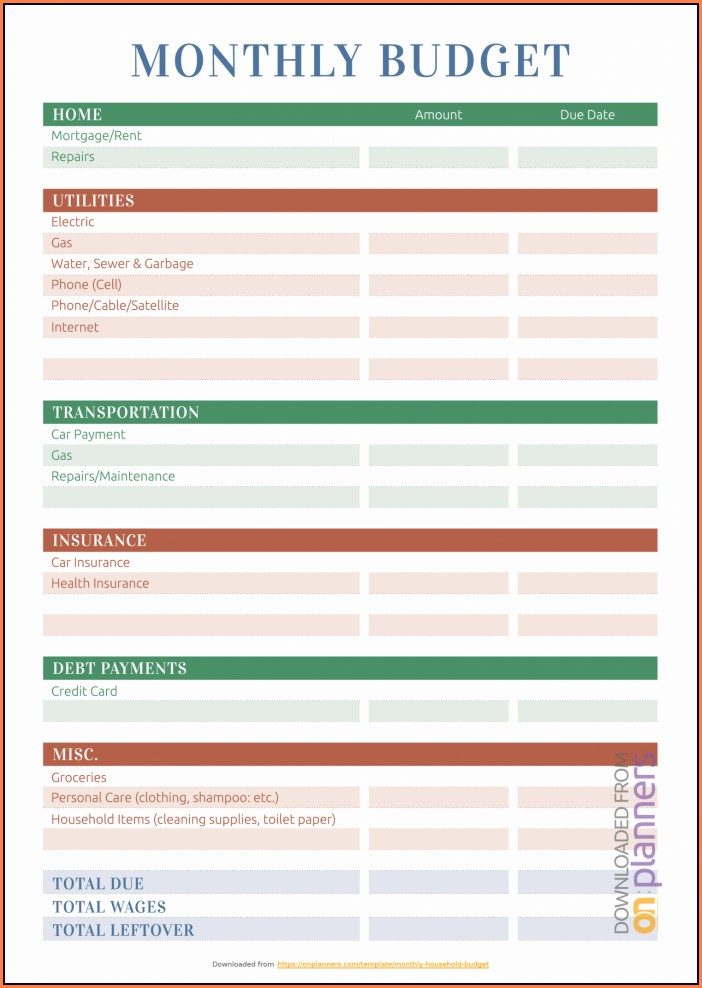 Household Budget Printable Budget Worksheet Pdf