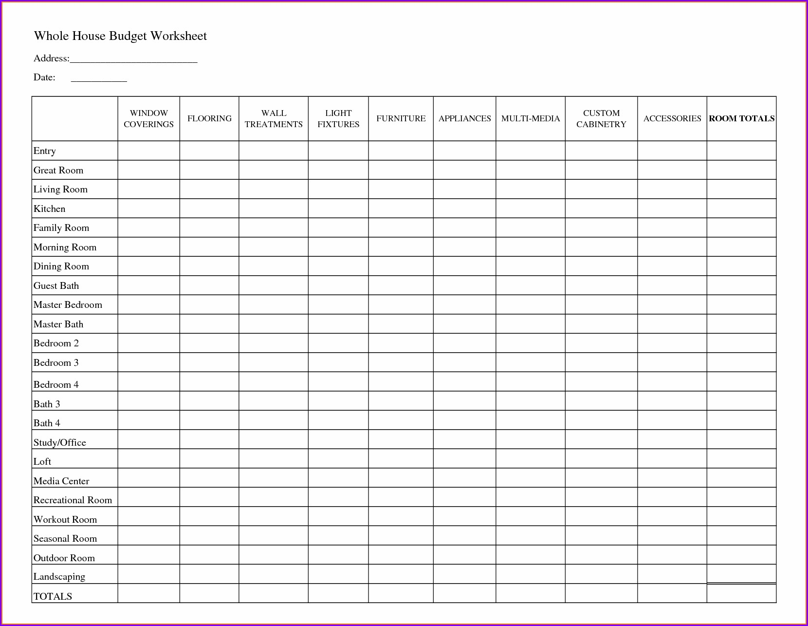 Household Budget Worksheet Budget Planner Pdf Printable