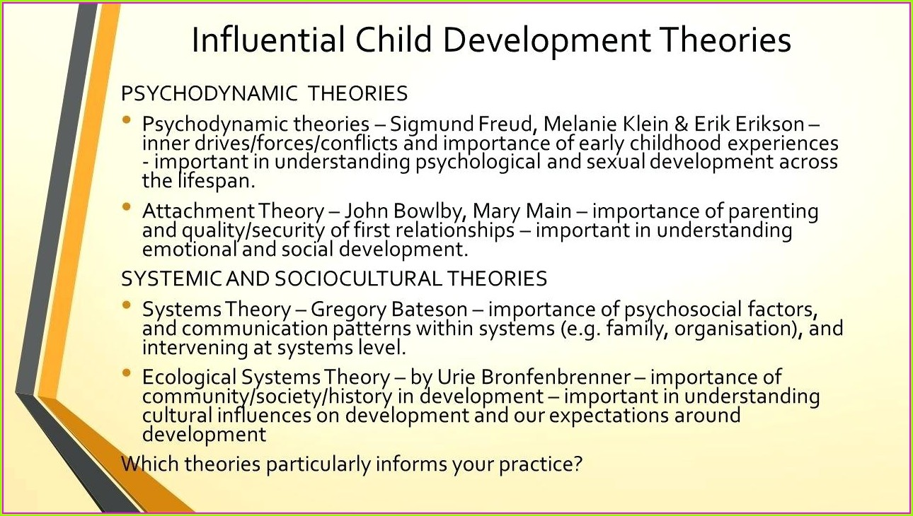 Key Theories Of Child Development Worksheet