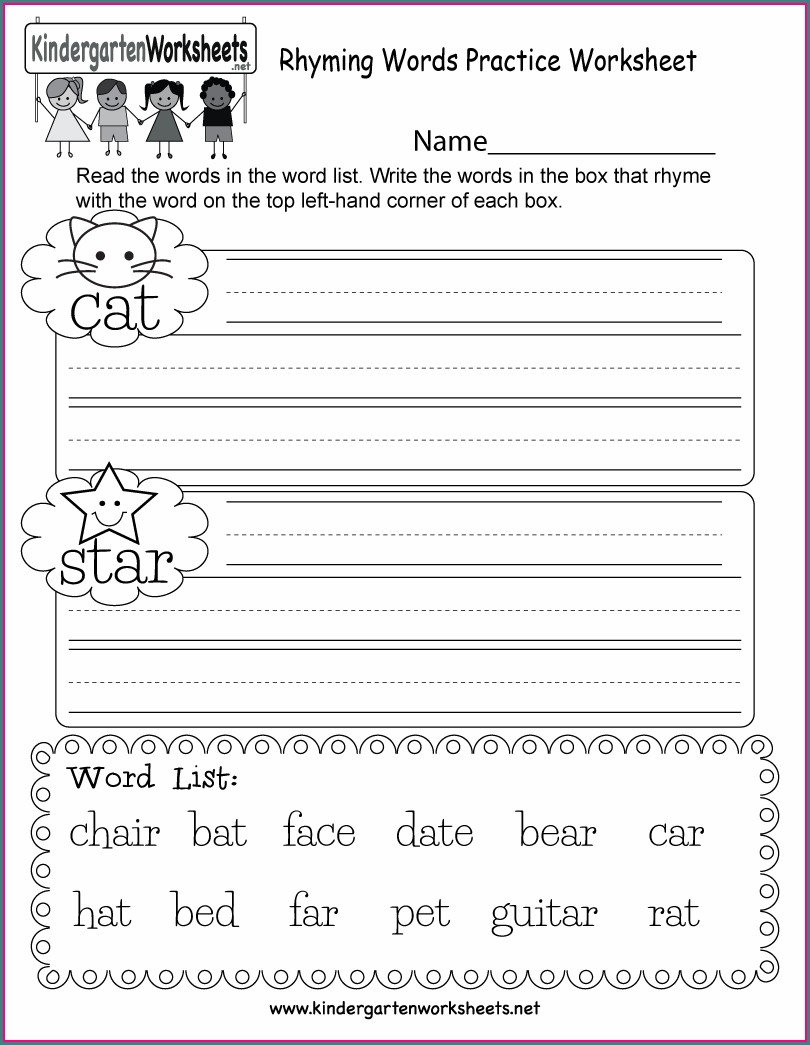 Kindergarten Free Rhyming Words Worksheet