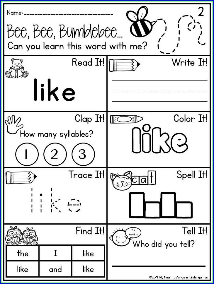Kindergarten Sight Word We Worksheet