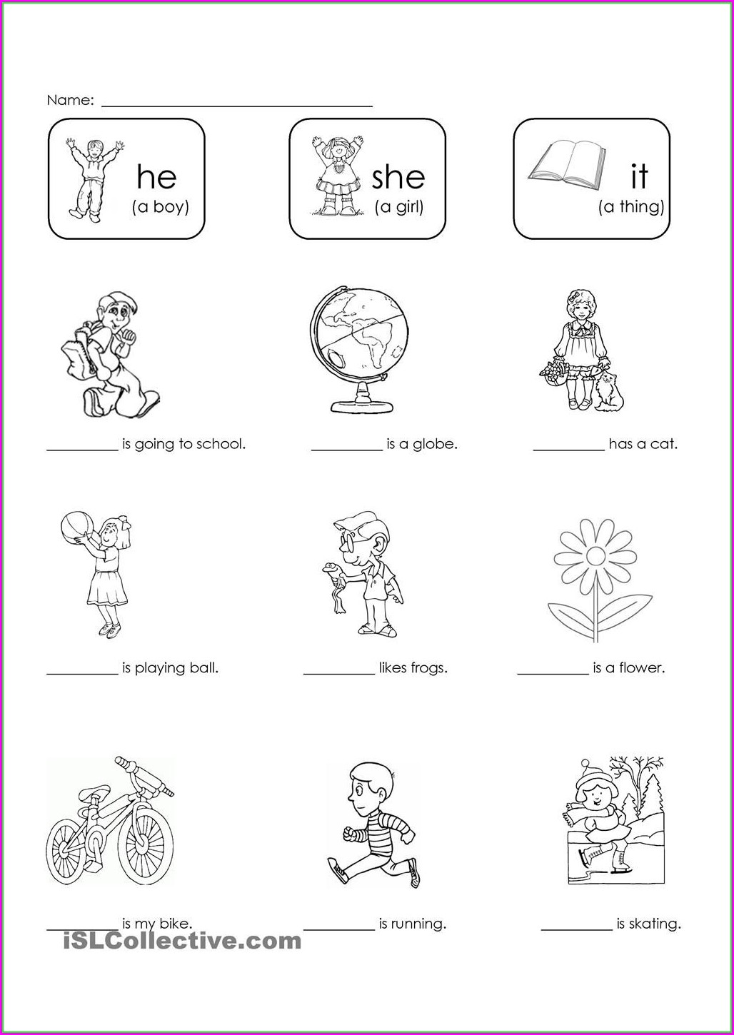 Kindergarten Worksheets He She It