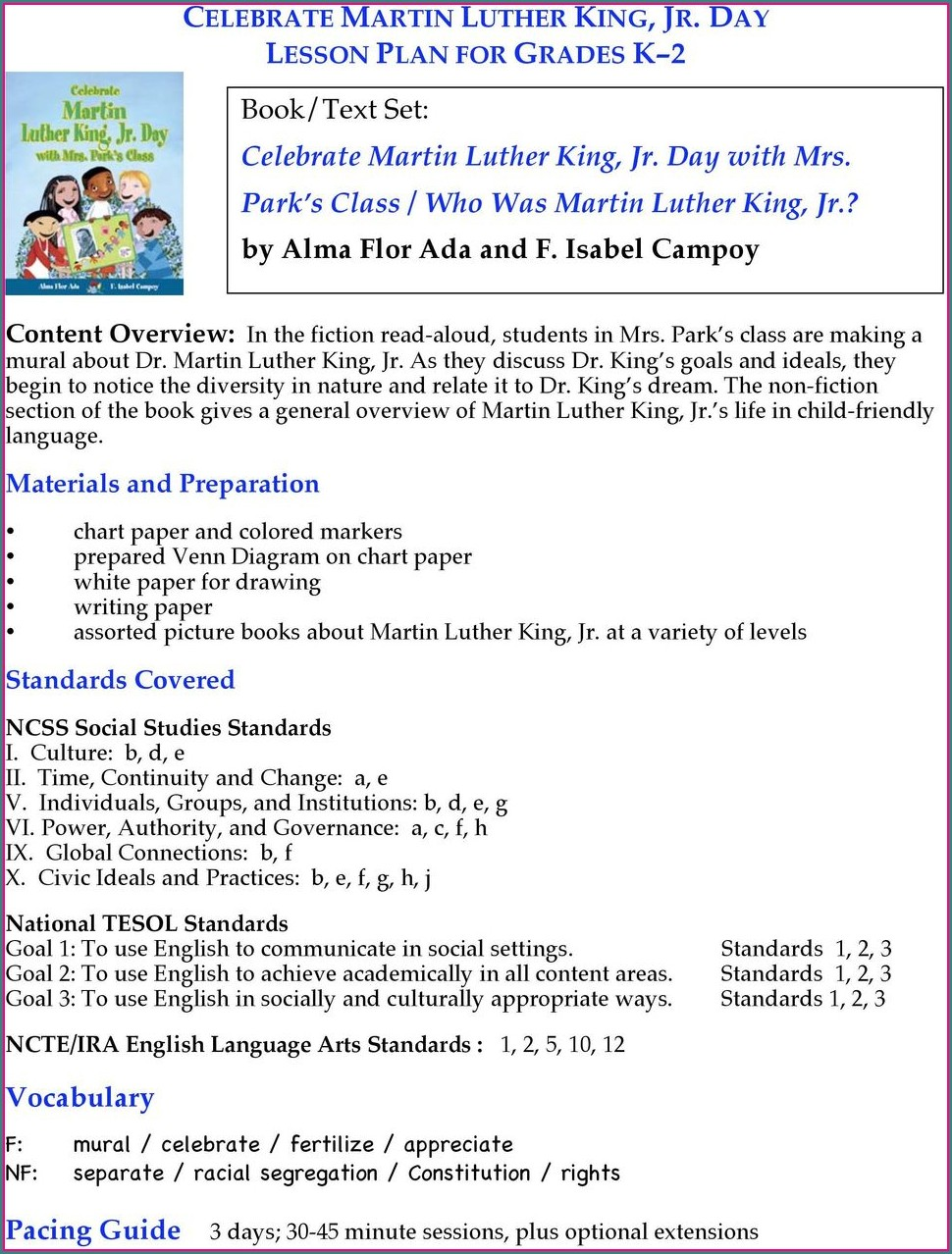Martin Luther King Jr Speech Lesson Plans
