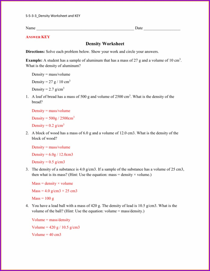 Mass Volume Density Triangle Worksheet