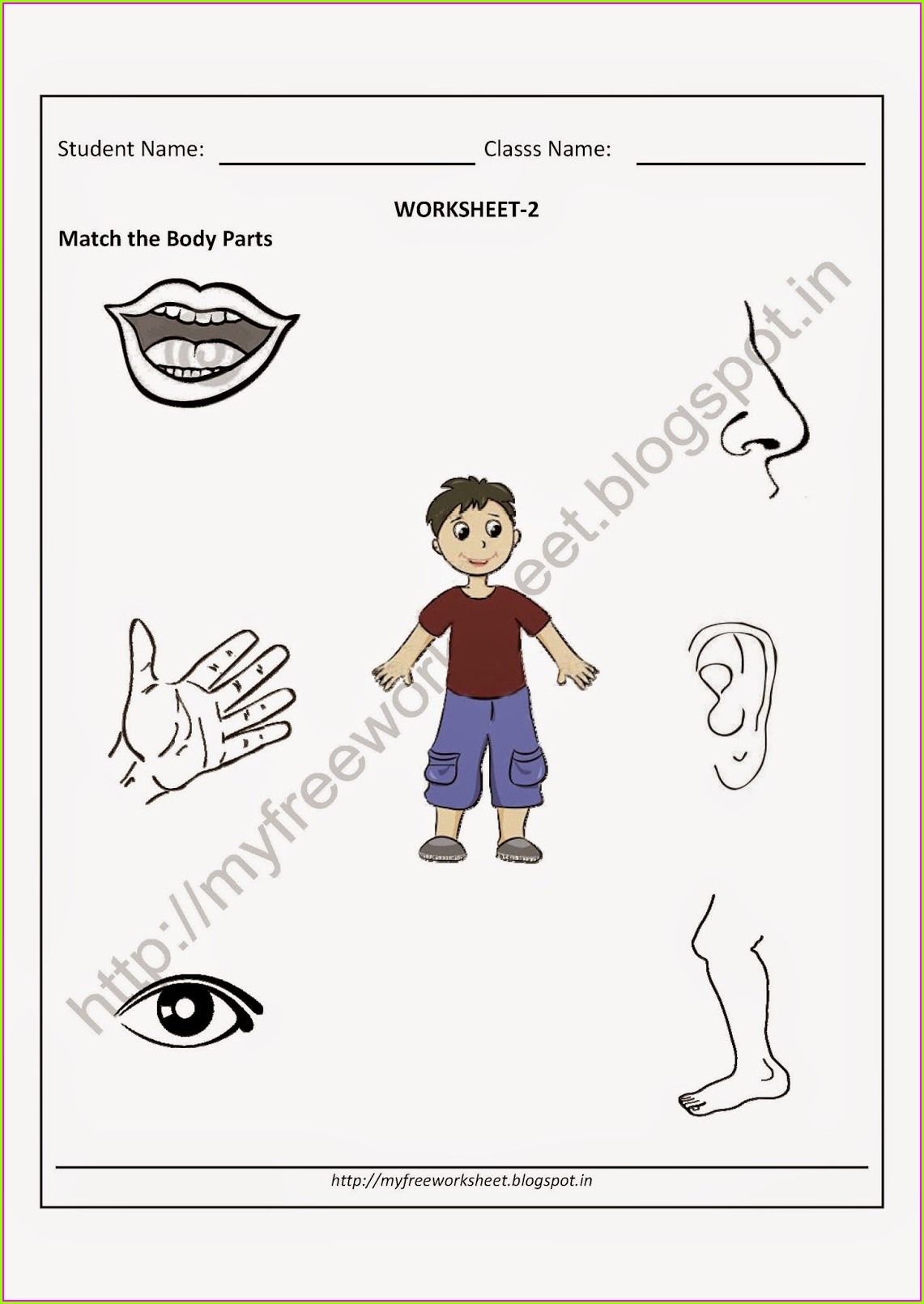 Matching Parts Of The Body Worksheet For Kindergarten