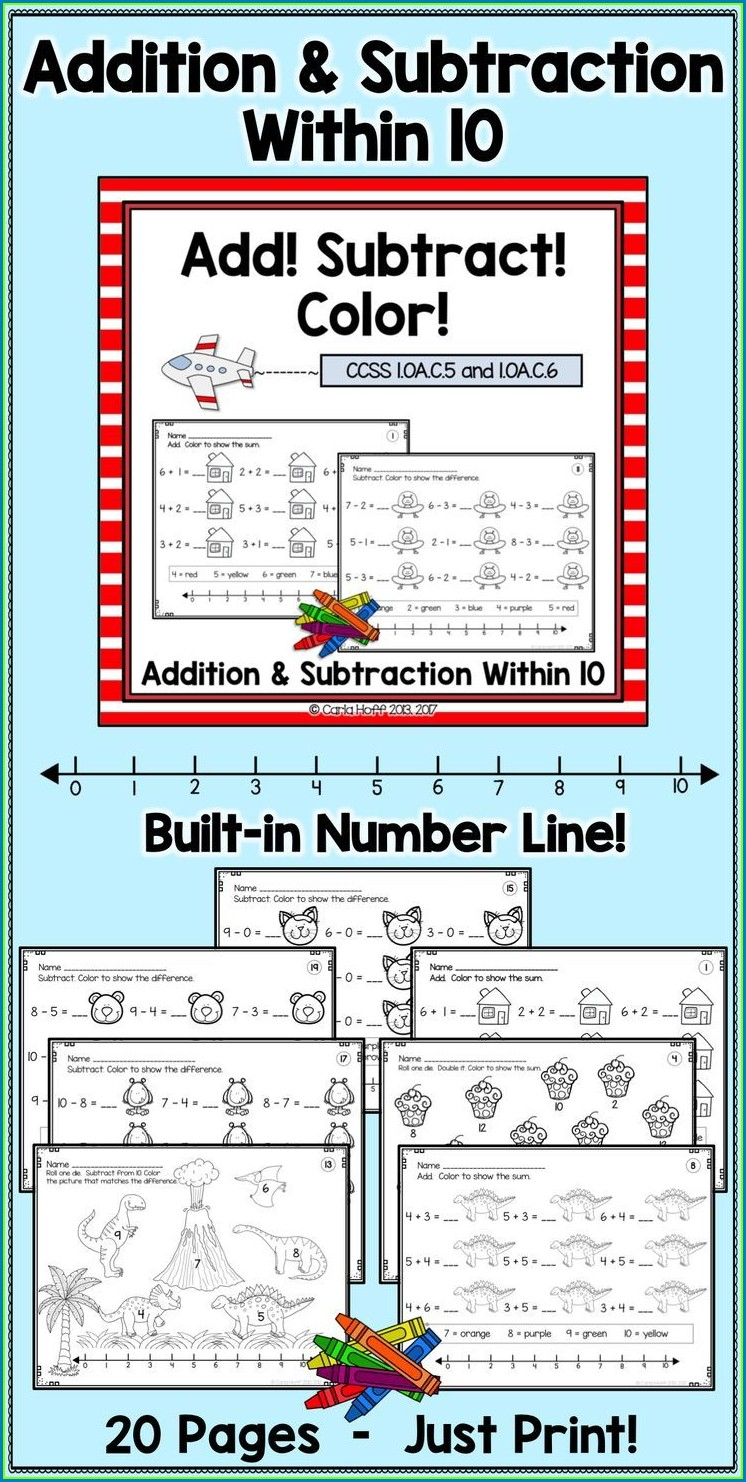 Math Addition Worksheets With Number Lines