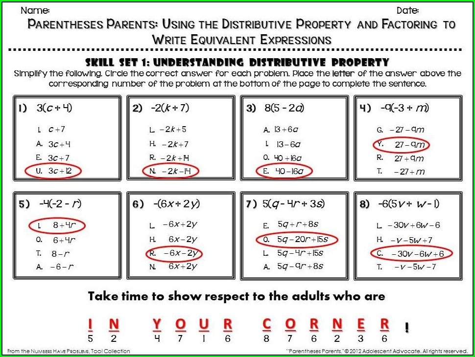 Math Distributive Property Worksheet