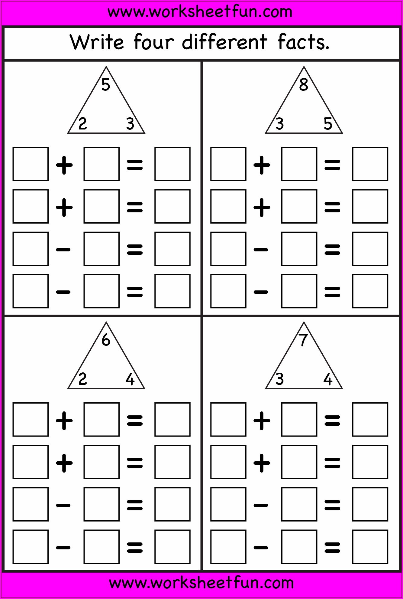 Math Facts Worksheet To 20
