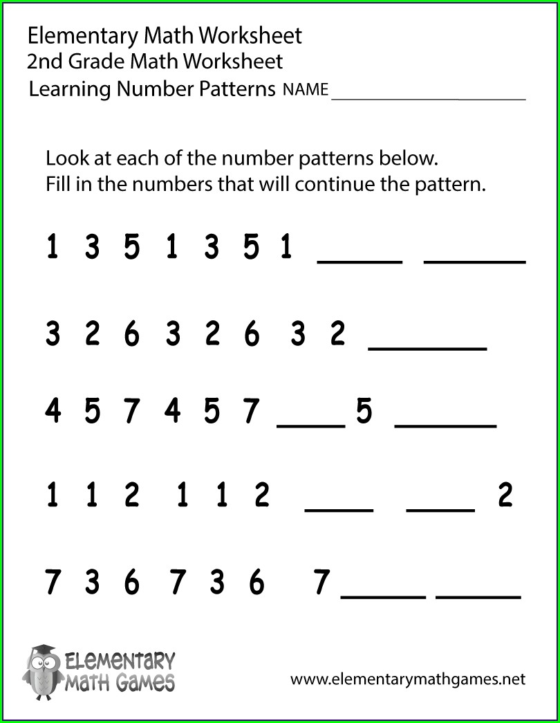 Math Pattern Worksheets For Grade 2