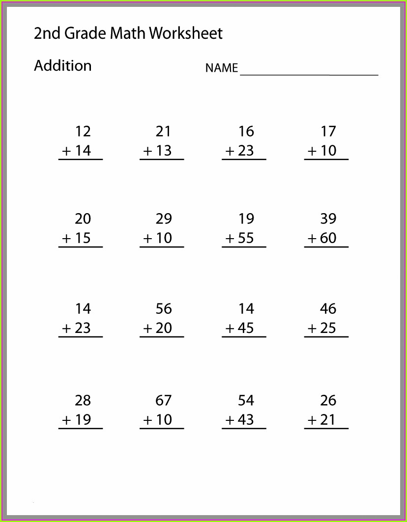 Math Problems Worksheets For 2nd Grade