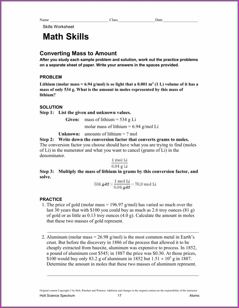 Math Skills For Science Worksheet Key