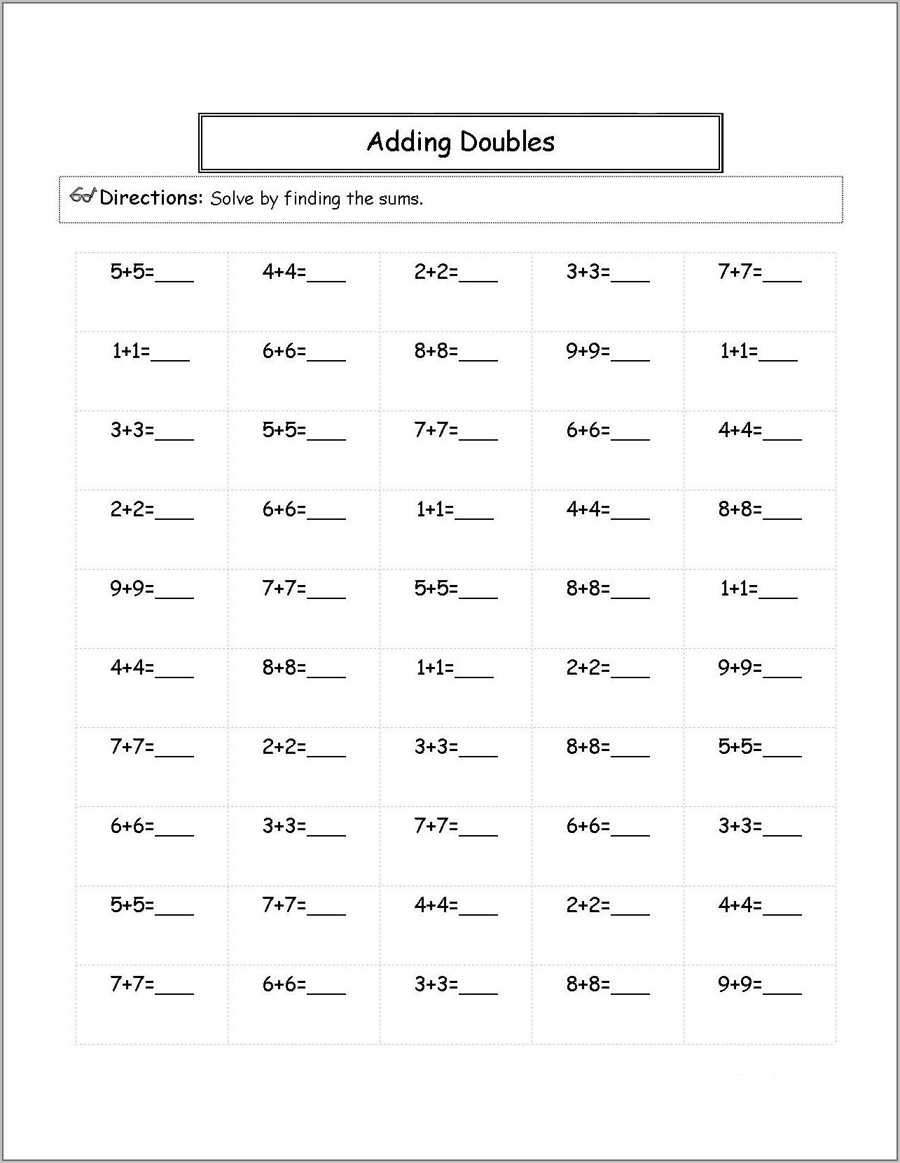 Math Worksheet For 2nd Grade