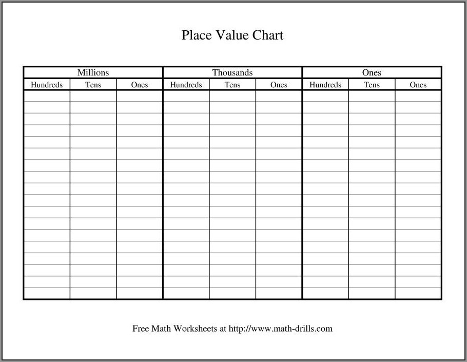 Math Worksheet Number Chart