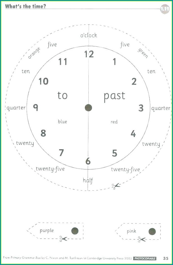 Math Worksheet On Telling Time