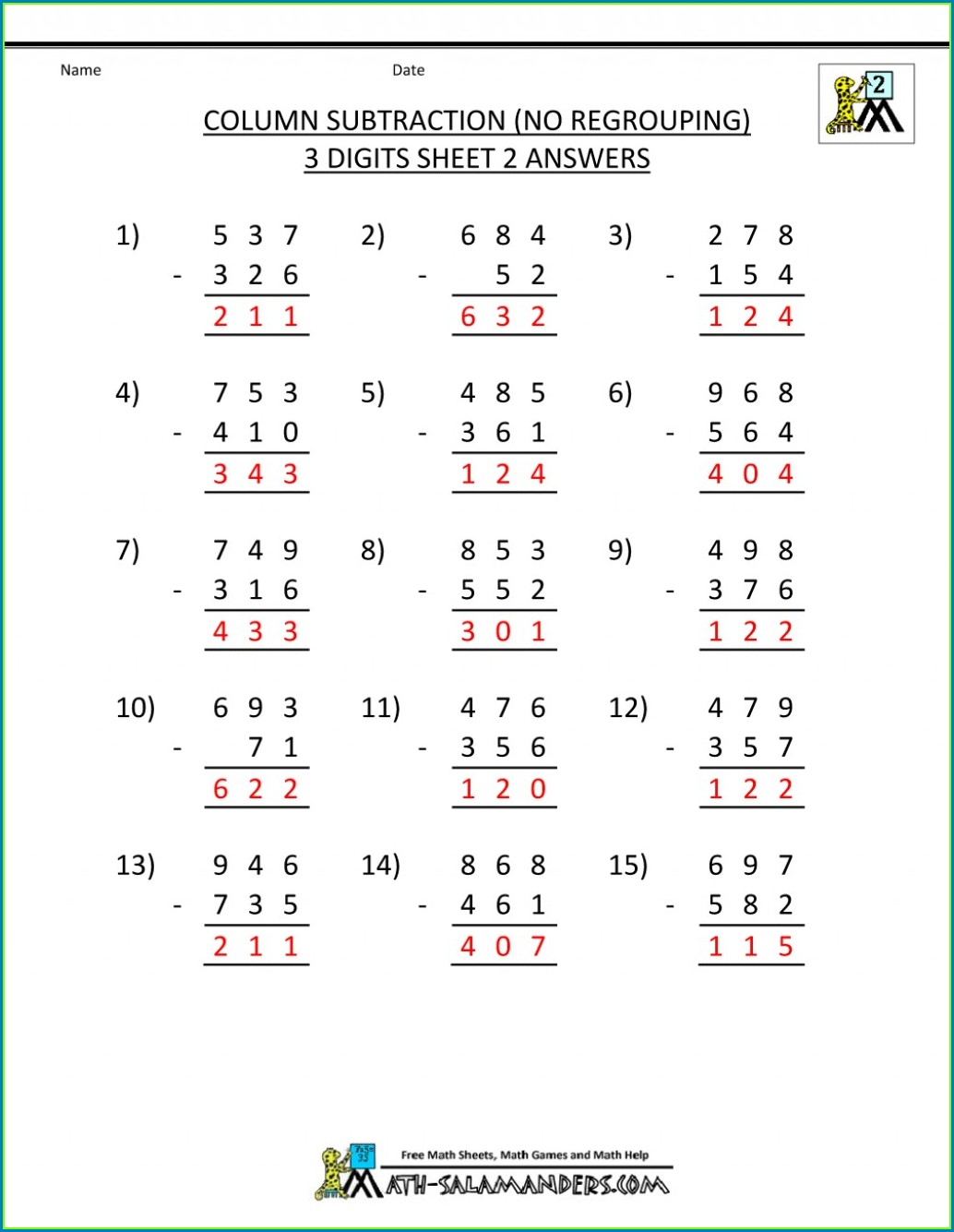 Math Worksheets For 2nd Graders Addition And Subtraction