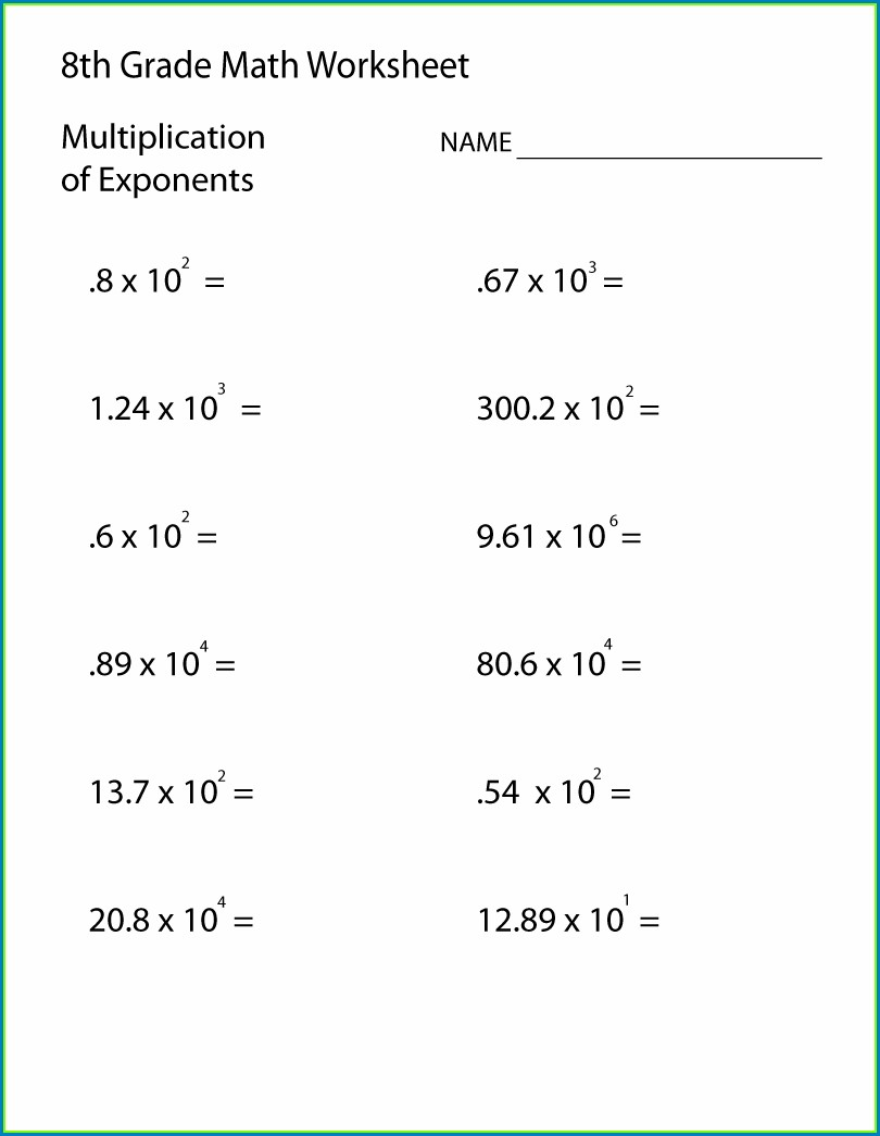 Math Worksheets For 7th Grade Exponents