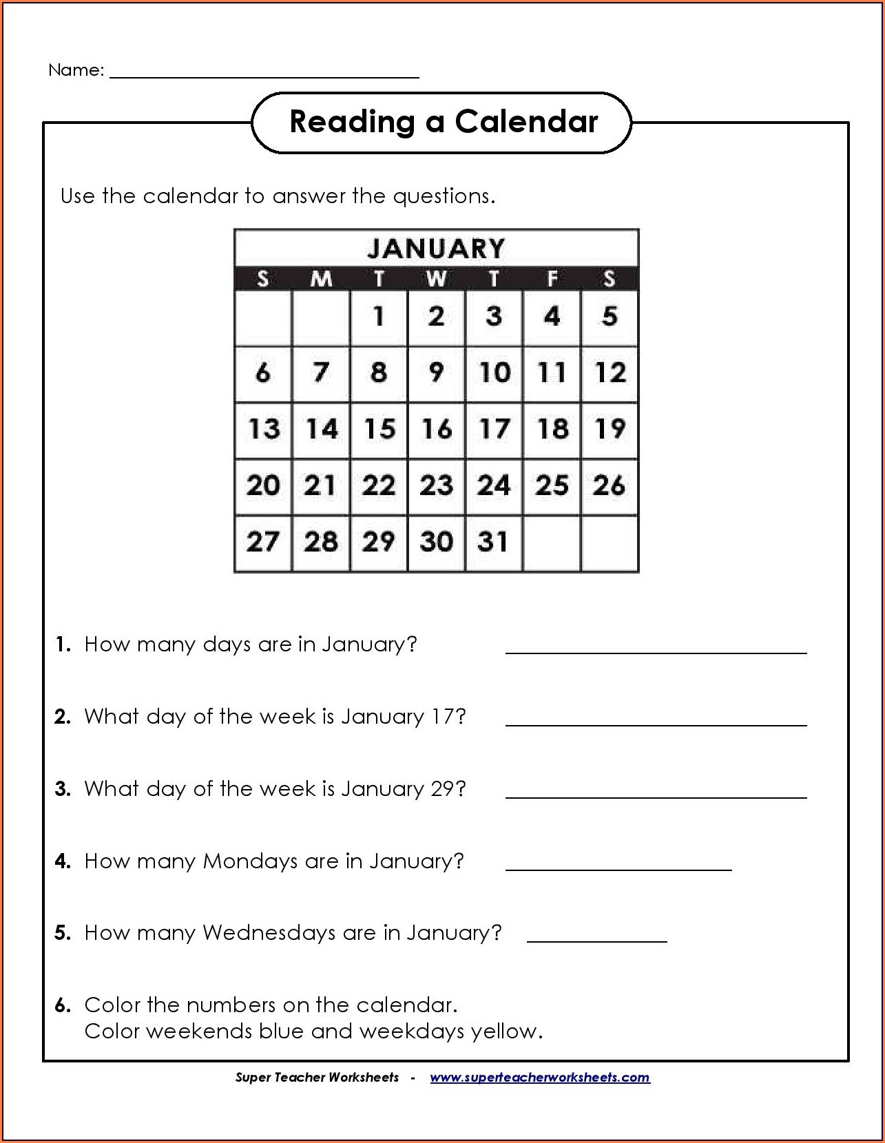 Math Worksheets For Grade 2 Calendar