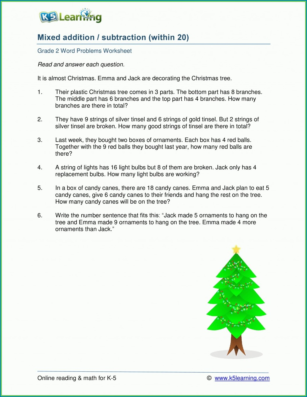 Math Worksheets For Grade 2 Subtraction Word Problems