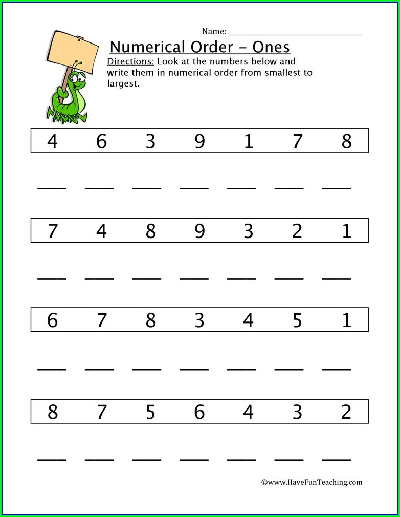 Math Worksheets Greatest To Least Worksheets For Kindergarten