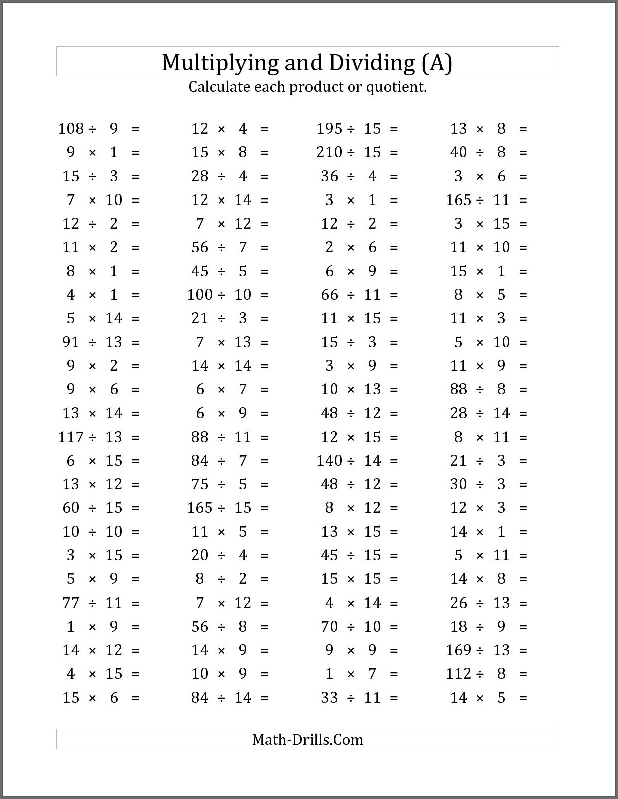 Math Worksheets Mixed Operations