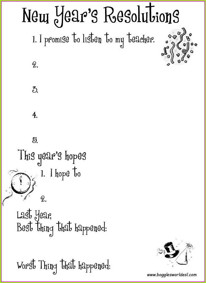 Middle School New Year Goals Worksheet