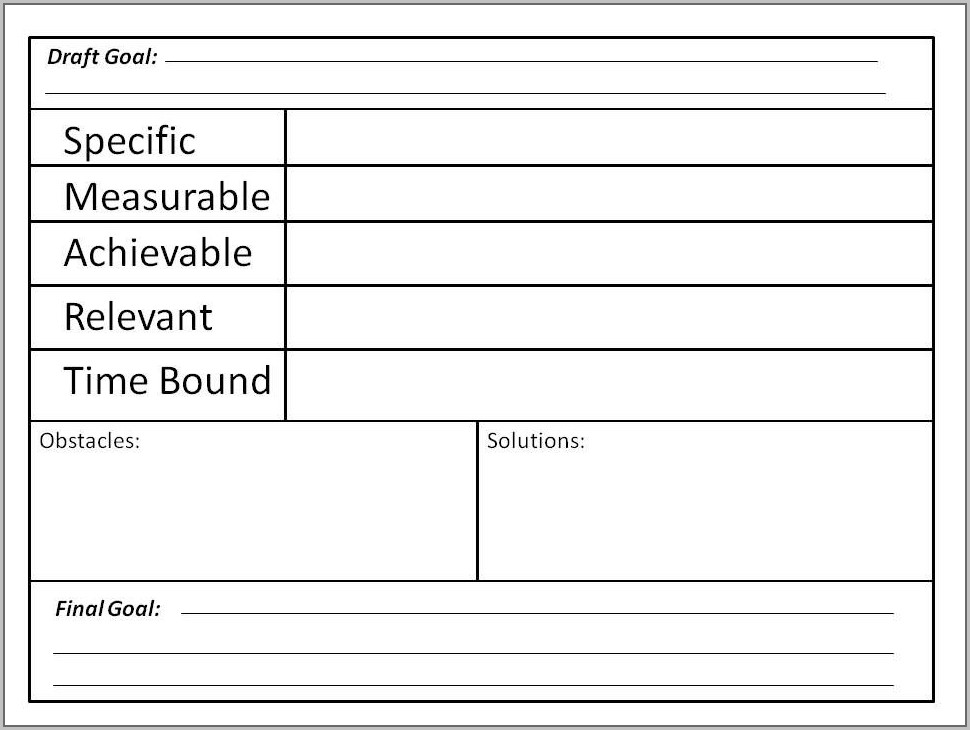 Middle School Smart Goals Worksheet