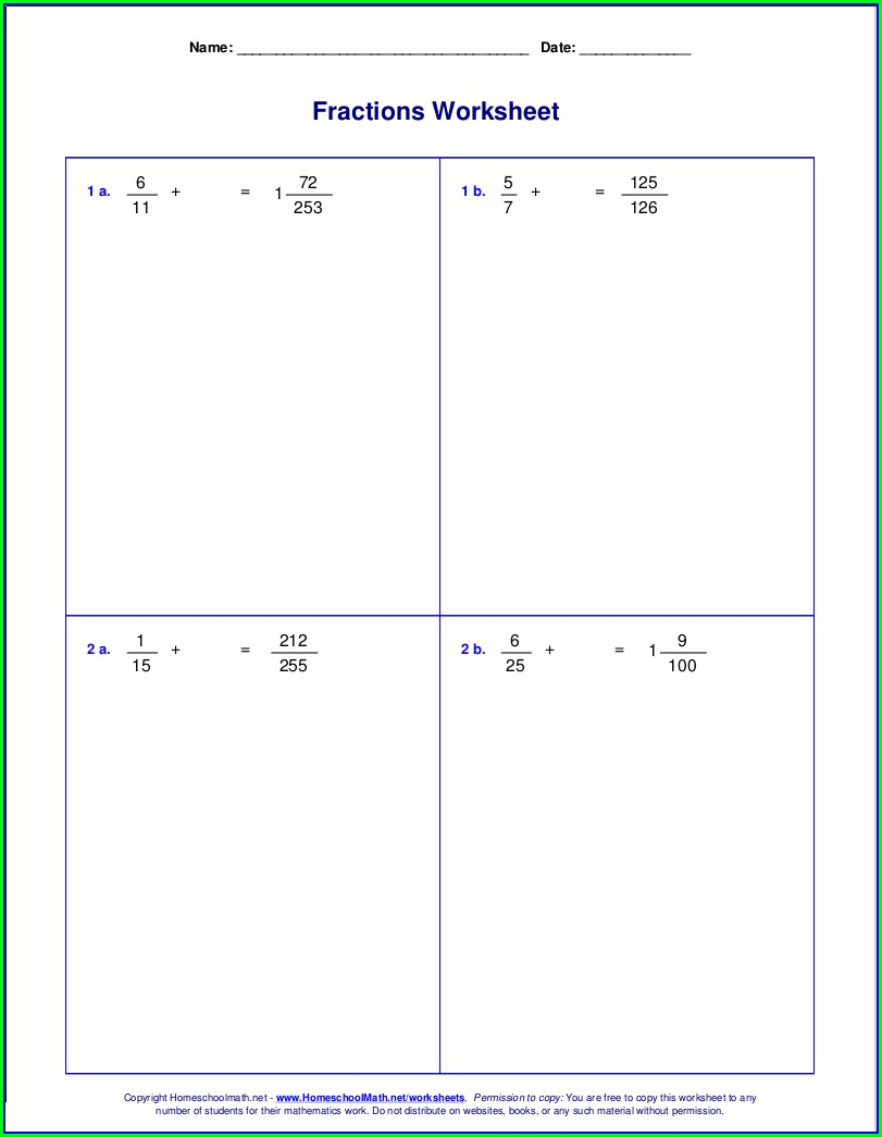Mixed Fractions Worksheets Grade 4 Pdf