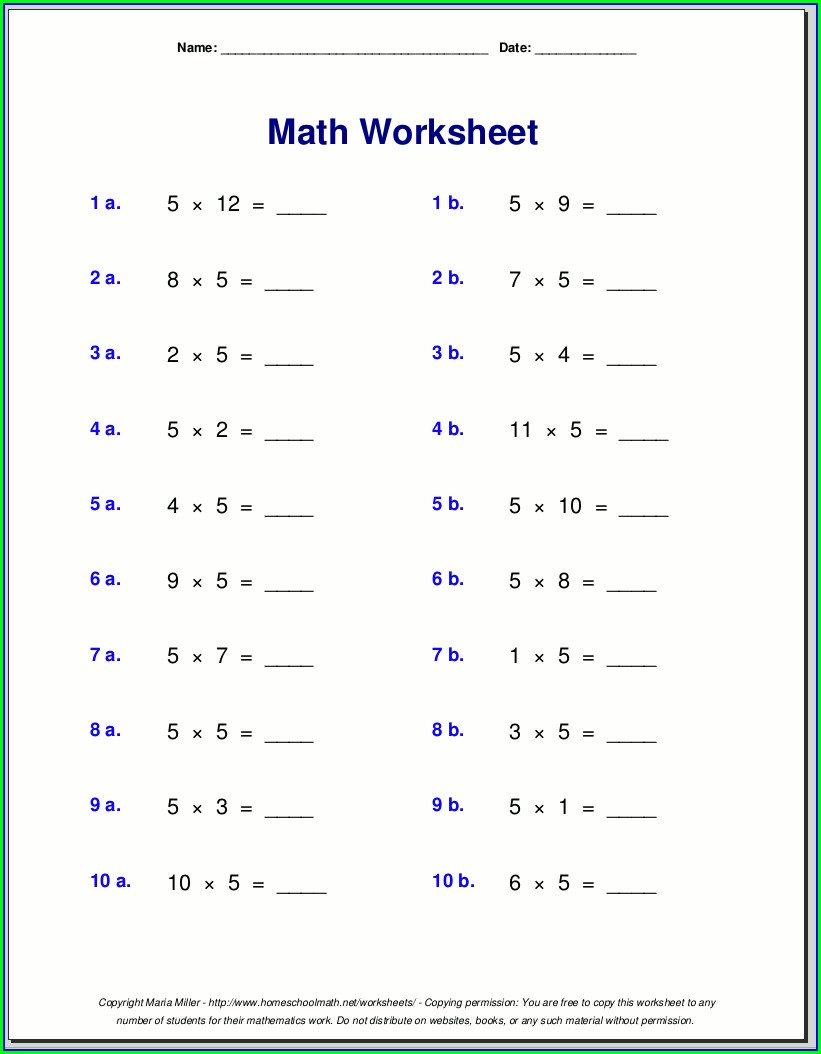 Multiplication Table 1 5 Worksheet