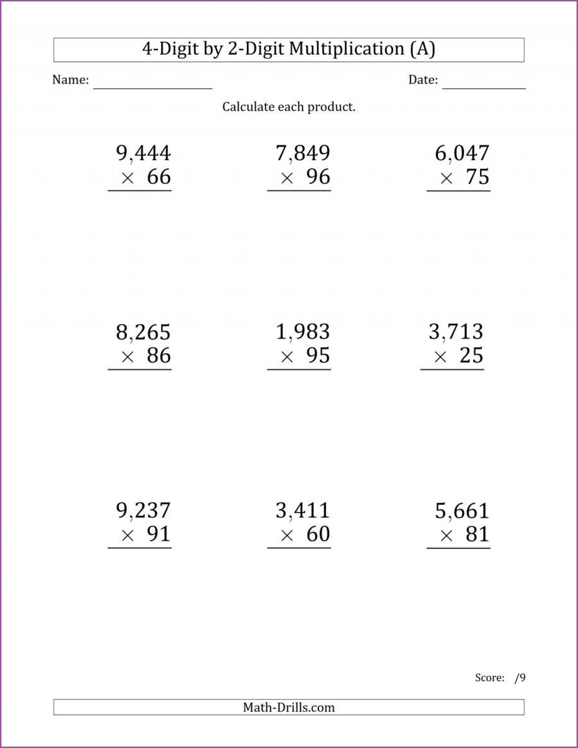 Multiplication Worksheet Grade 6 Pdf