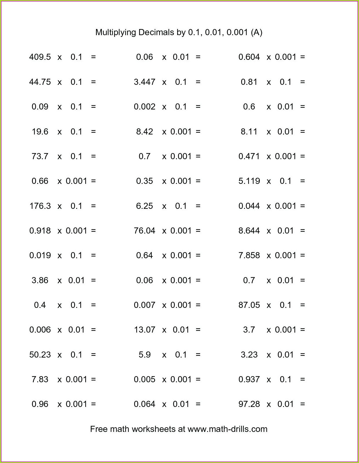 Multiplication Worksheet Year 6