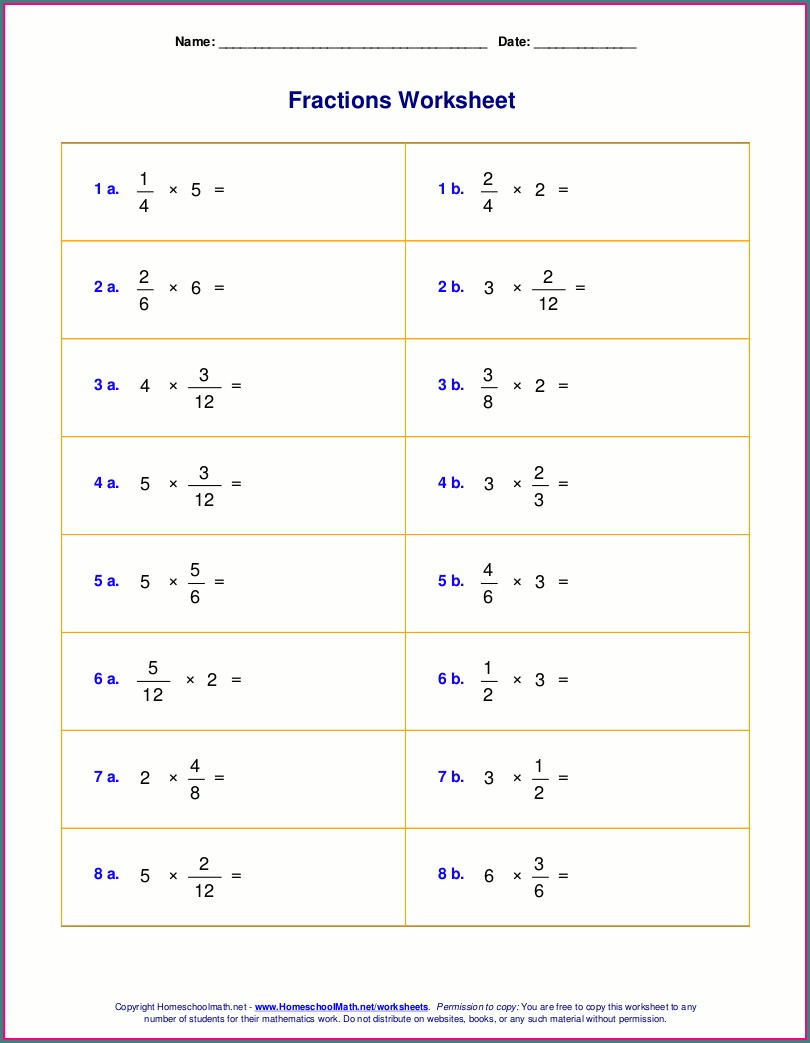 Multiplying Fractions With Whole Numbers Worksheets 5th Grade