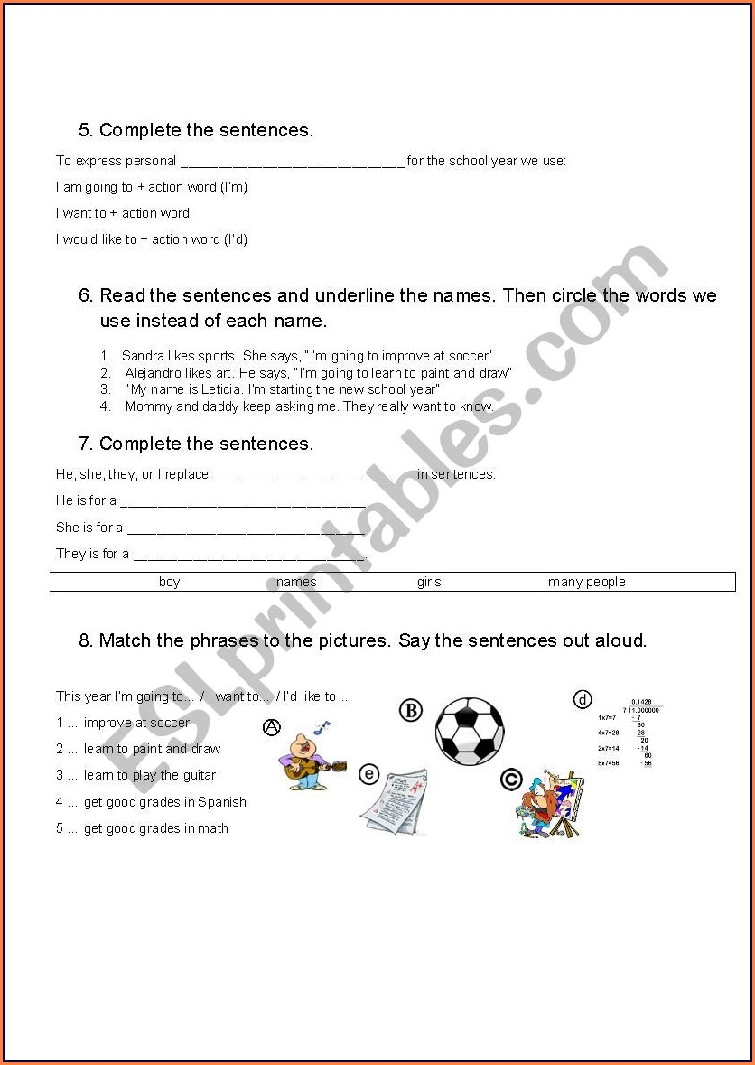 My School Year Worksheet