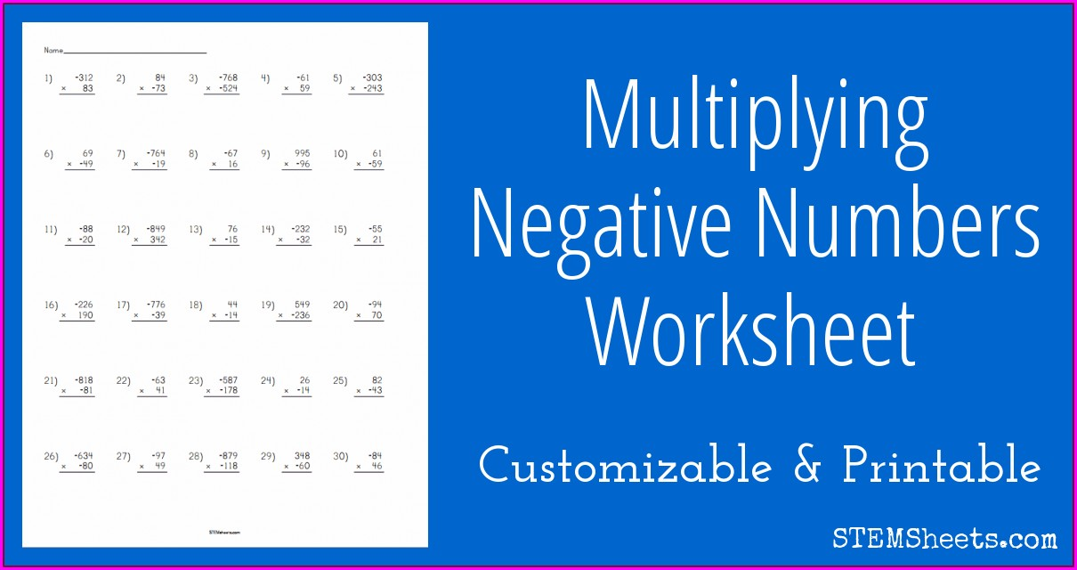 Negative Numbers Division Worksheet