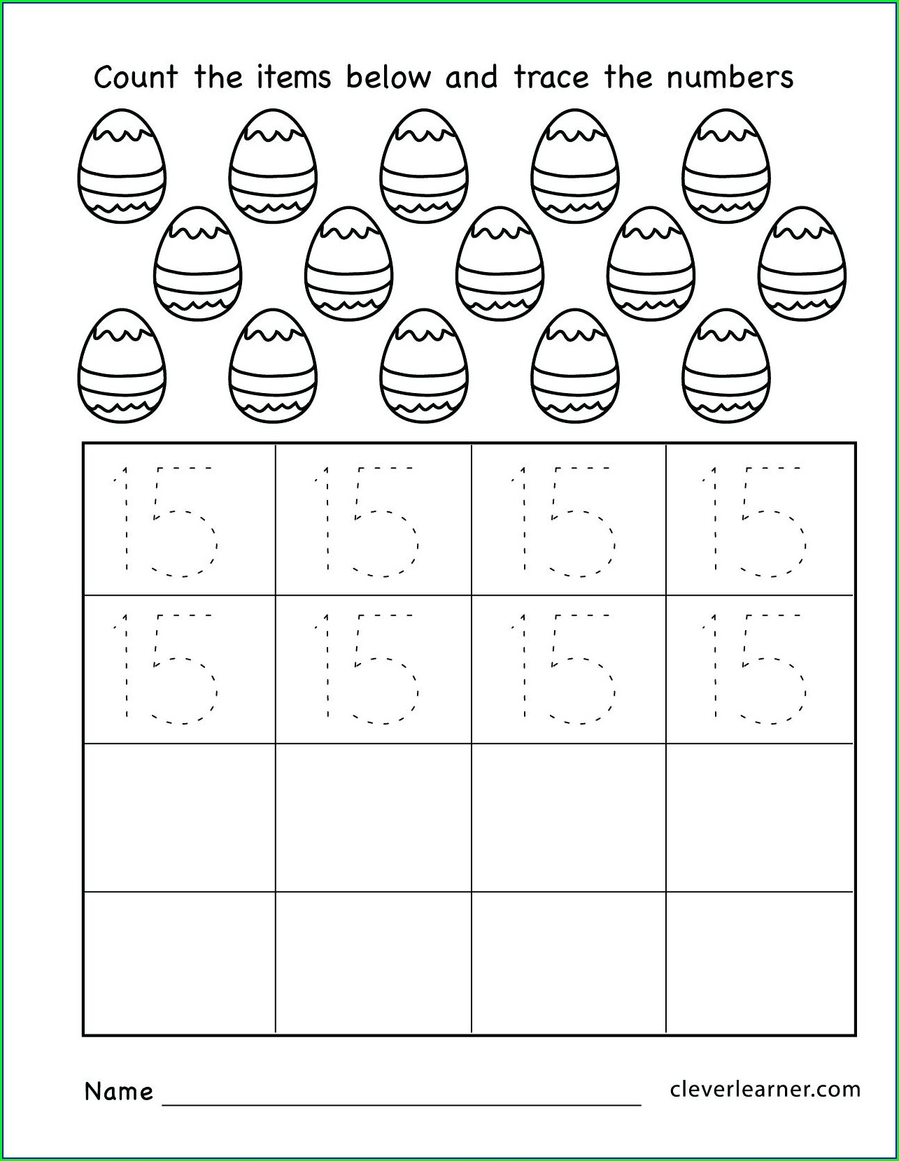 Number 15 Worksheet For Kindergarten