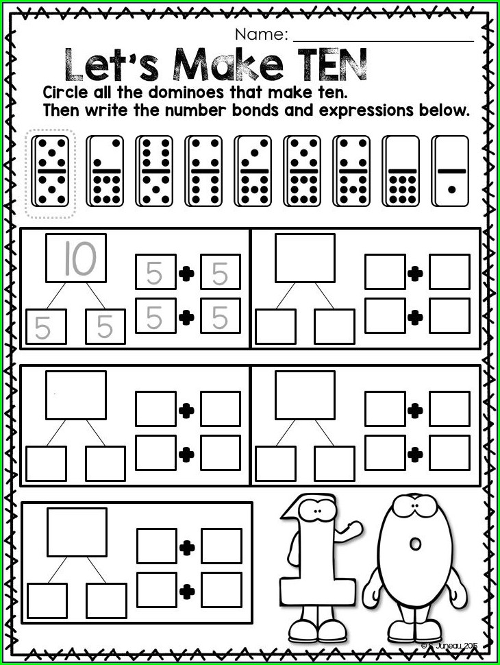 Number Bonds To 10 Dominoes Worksheet